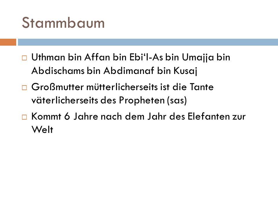 Stammbaum Uthman bin Affan bin Ebi'l-As bin Umajja bin Abdischams bin Abdimanaf bin Kusaj.