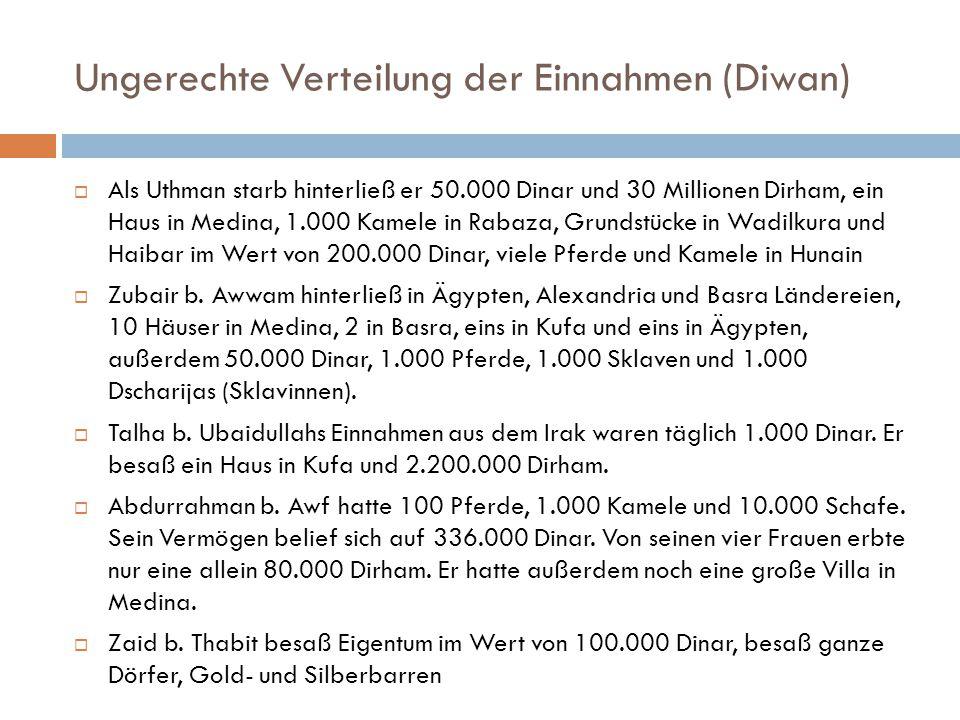 Ungerechte Verteilung der Einnahmen (Diwan)