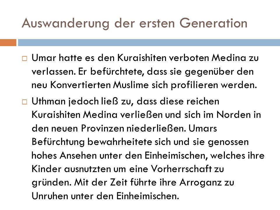 Auswanderung der ersten Generation