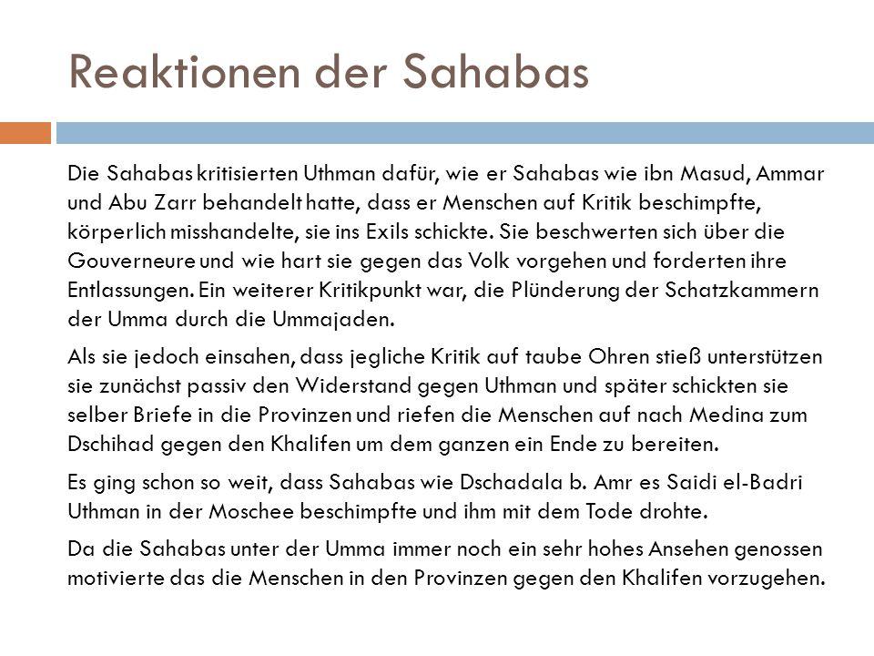 Reaktionen der Sahabas