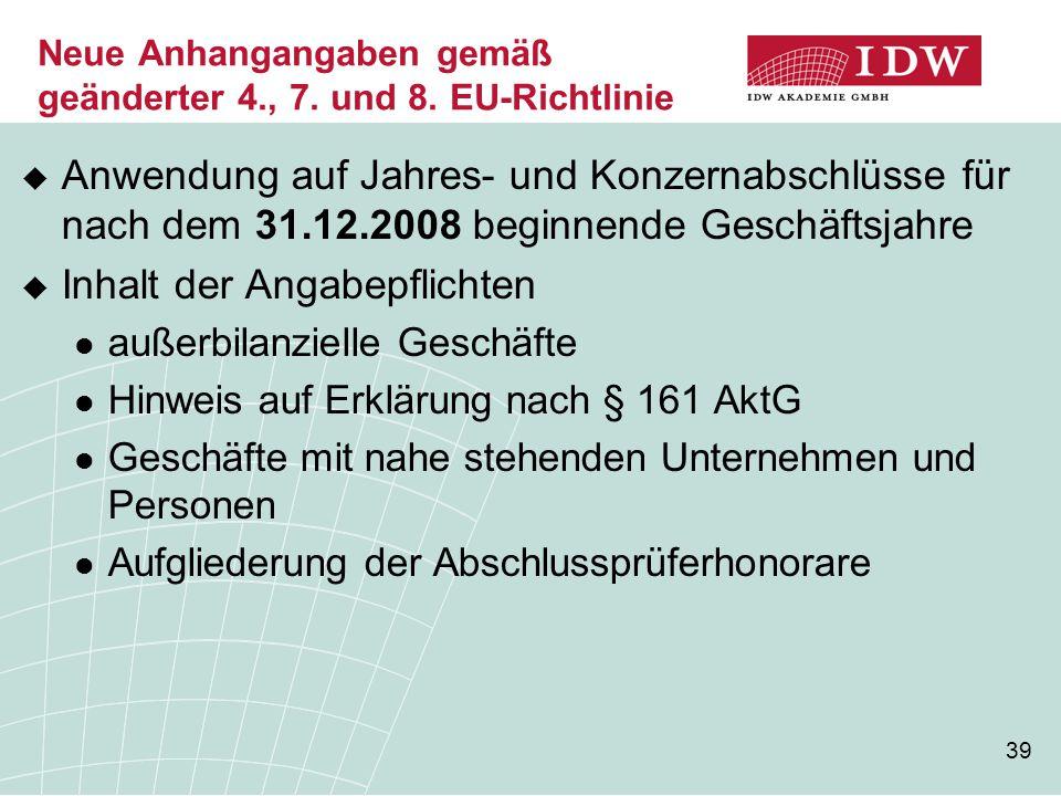 Neue Anhangangaben gemäß geänderter 4., 7. und 8. EU-Richtlinie