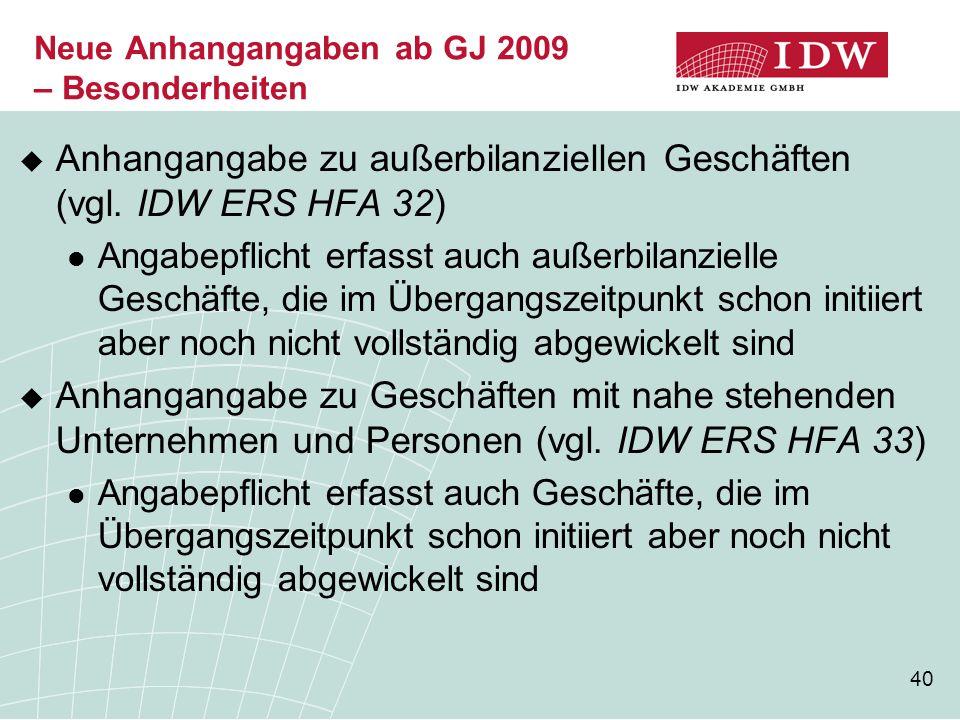 Neue Anhangangaben ab GJ 2009 – Besonderheiten