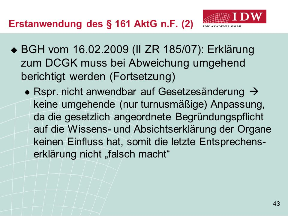 Erstanwendung des § 161 AktG n.F. (2)
