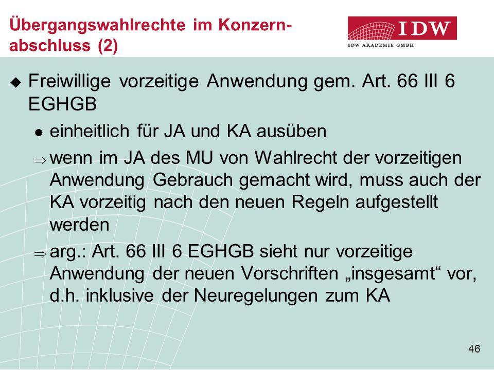 Übergangswahlrechte im Konzern- abschluss (2)
