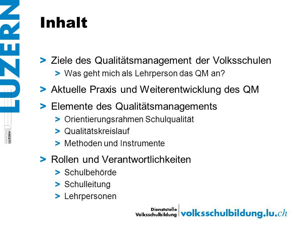 Inhalt Ziele des Qualitätsmanagement der Volksschulen
