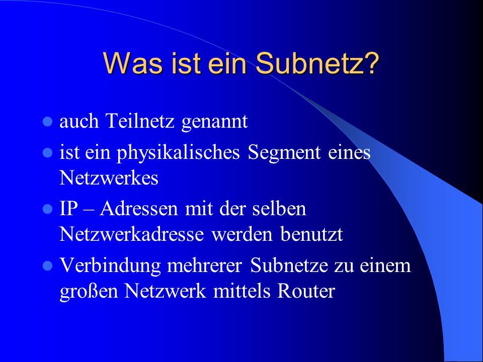 Was ist ein Subnetz auch Teilnetz genannt