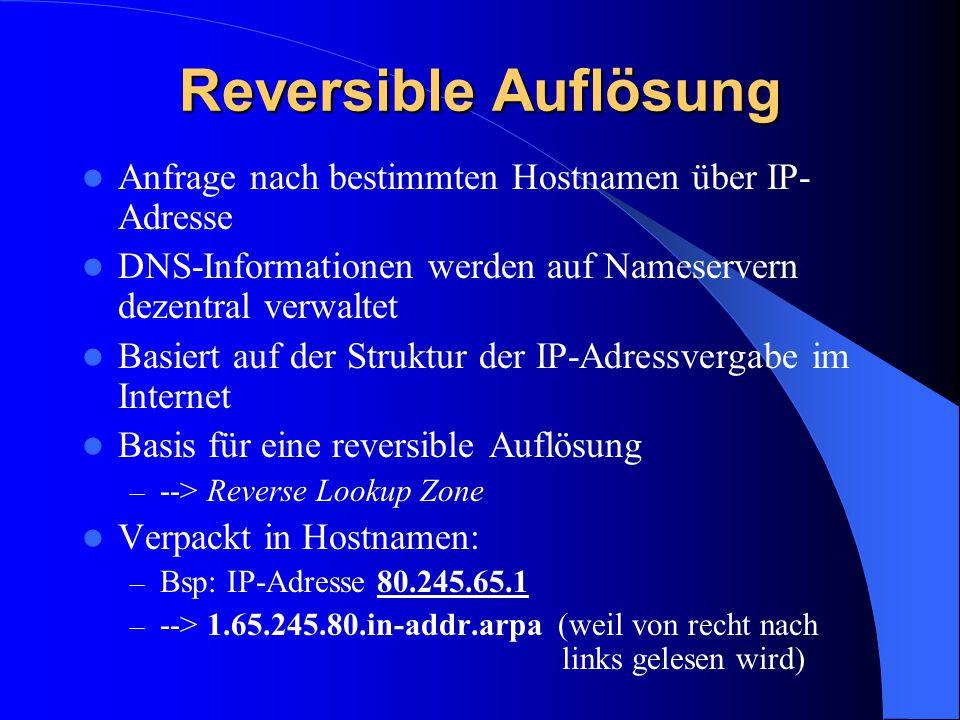 Reversible Auflösung Anfrage nach bestimmten Hostnamen über IP- Adresse. DNS-Informationen werden auf Nameservern dezentral verwaltet.