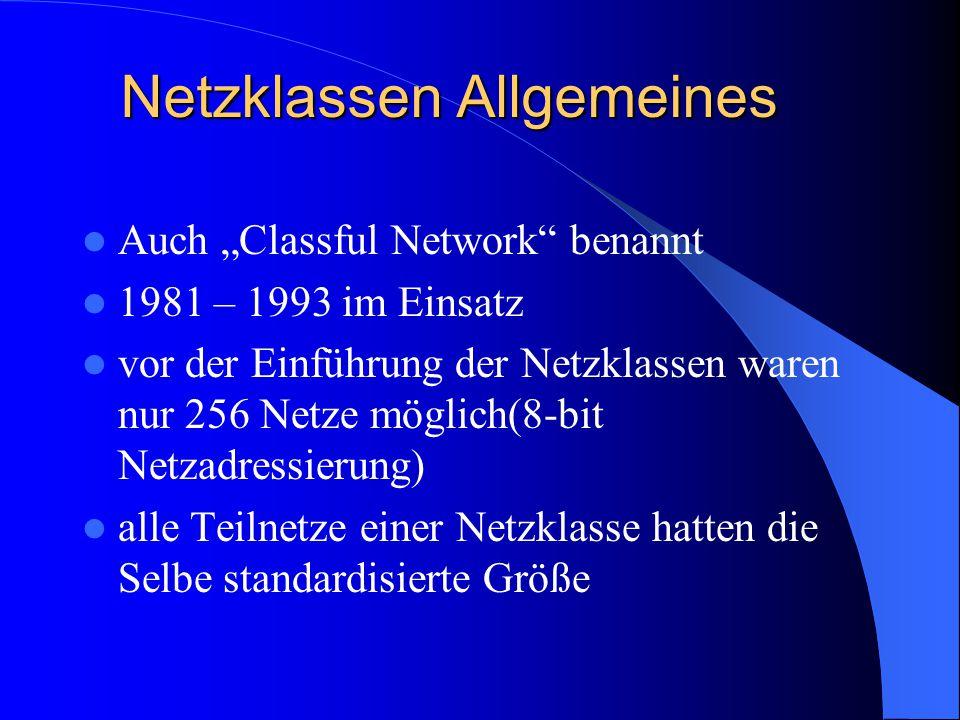 Netzklassen Allgemeines