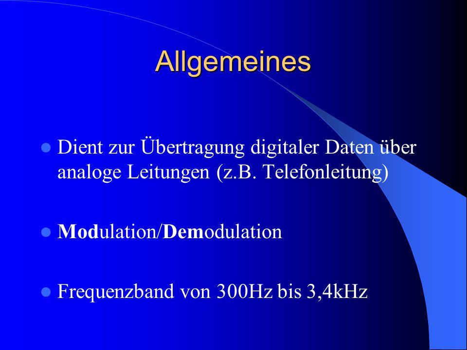 Allgemeines Dient zur Übertragung digitaler Daten über analoge Leitungen (z.B. Telefonleitung) Modulation/Demodulation.