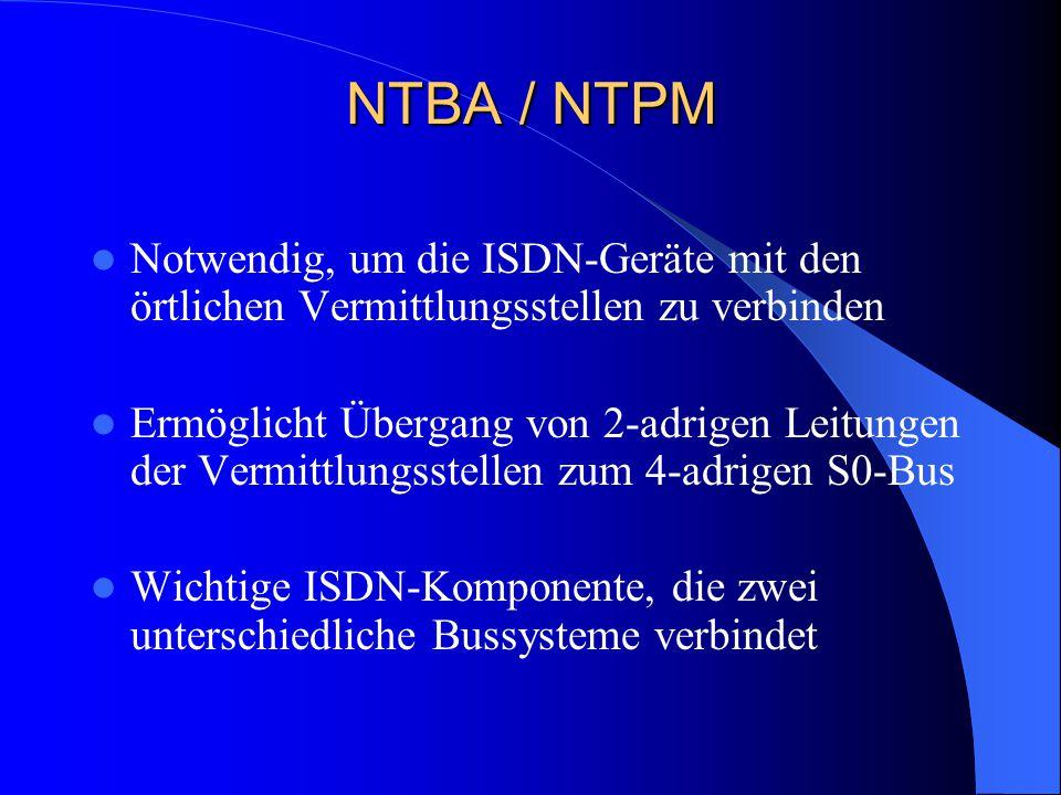 NTBA / NTPM Notwendig, um die ISDN-Geräte mit den örtlichen Vermittlungsstellen zu verbinden.