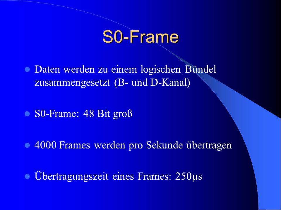 S0-Frame Daten werden zu einem logischen Bündel zusammengesetzt (B- und D-Kanal) S0-Frame: 48 Bit groß.