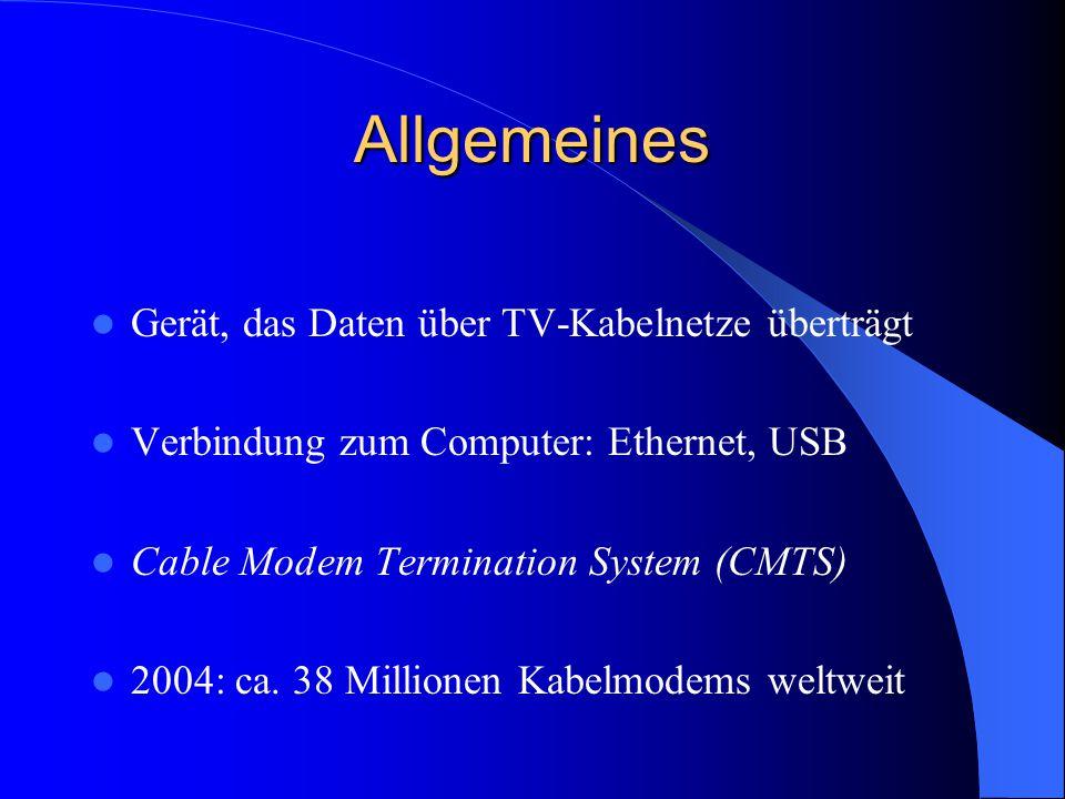 Allgemeines Gerät, das Daten über TV-Kabelnetze überträgt