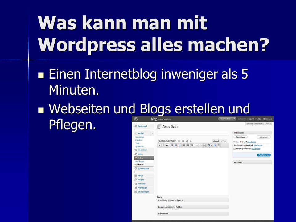 Was kann man mit Wordpress alles machen