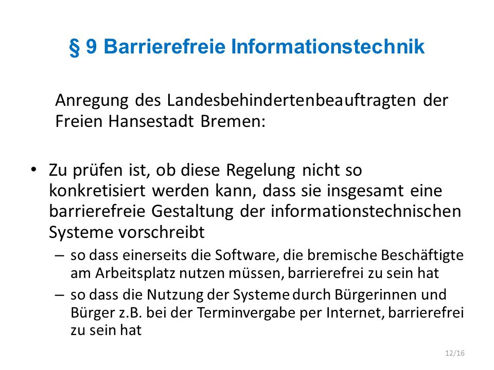 § 9 Barrierefreie Informationstechnik