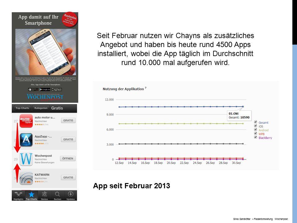 Seit Februar nutzen wir Chayns als zusätzliches Angebot und haben bis heute rund 4500 Apps installiert, wobei die App täglich im Durchschnitt rund 10.000 mal aufgerufen wird.