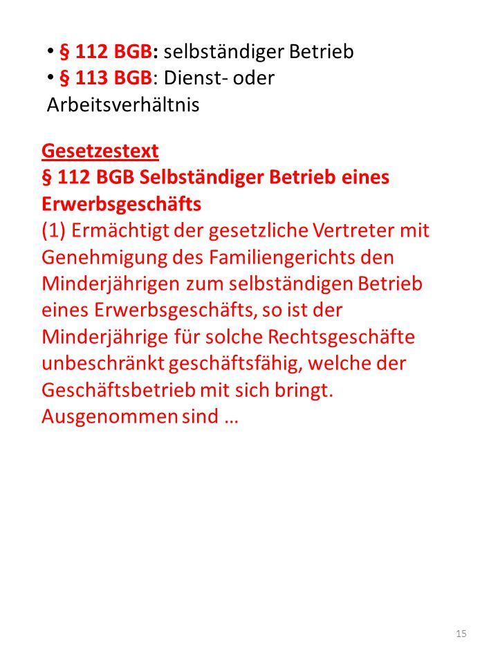 § 112 BGB: selbständiger Betrieb