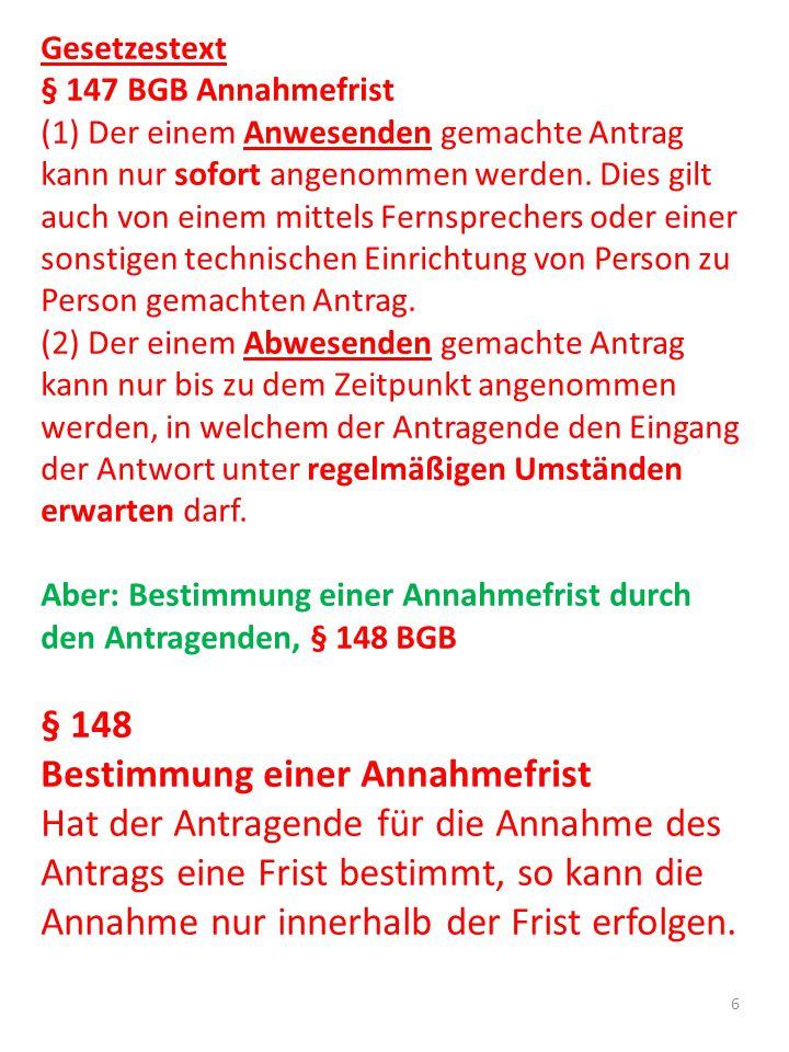 § 148 Bestimmung einer Annahmefrist