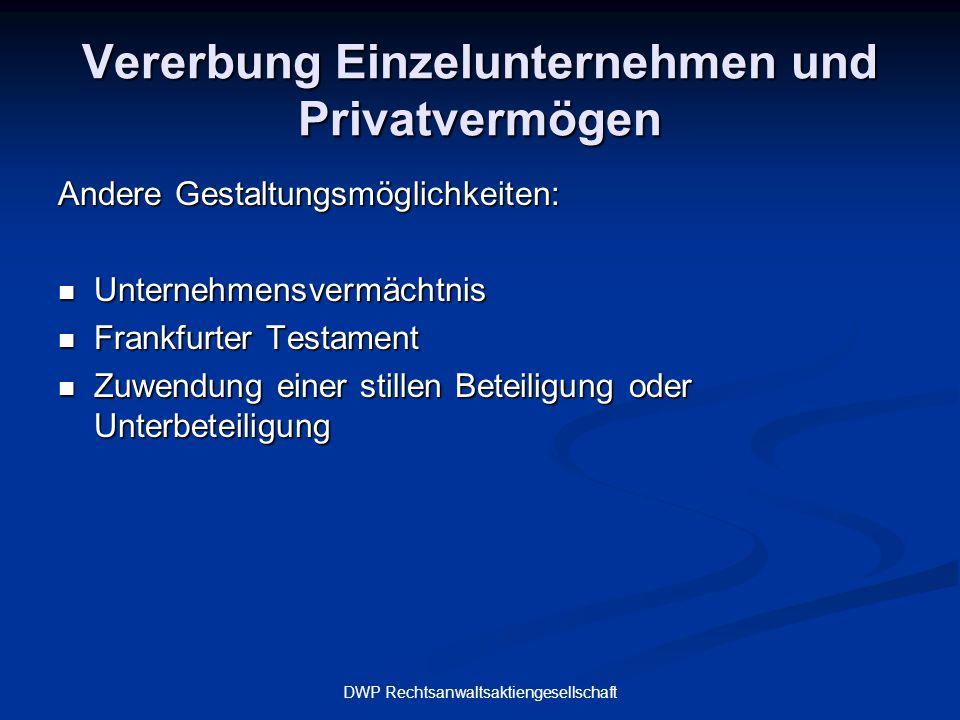 Vererbung Einzelunternehmen und Privatvermögen
