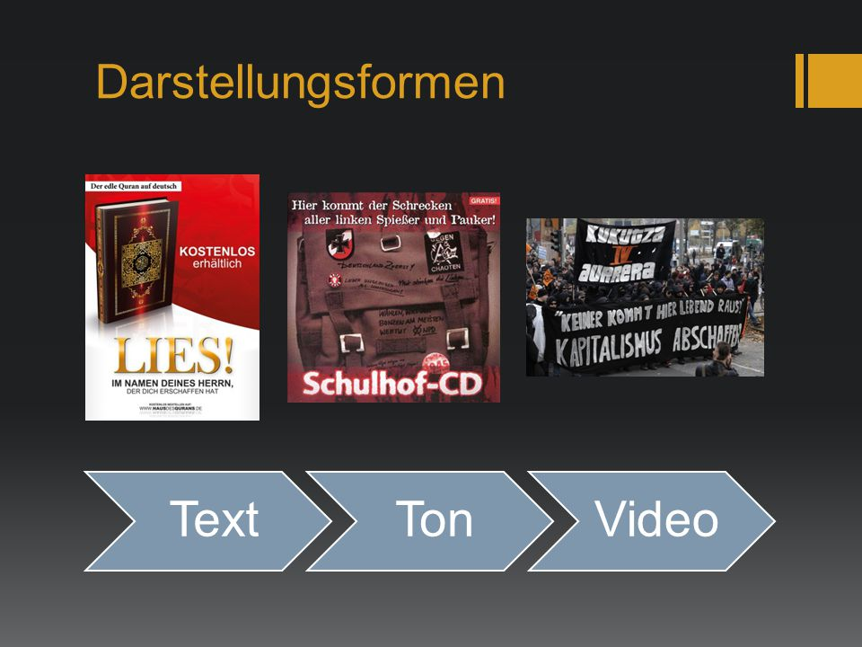 Darstellungsformen Text Ton Video