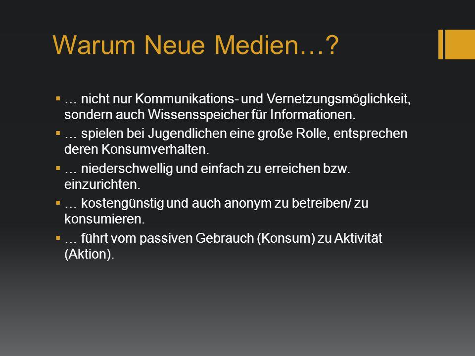 Warum Neue Medien… … nicht nur Kommunikations- und Vernetzungsmöglichkeit, sondern auch Wissensspeicher für Informationen.
