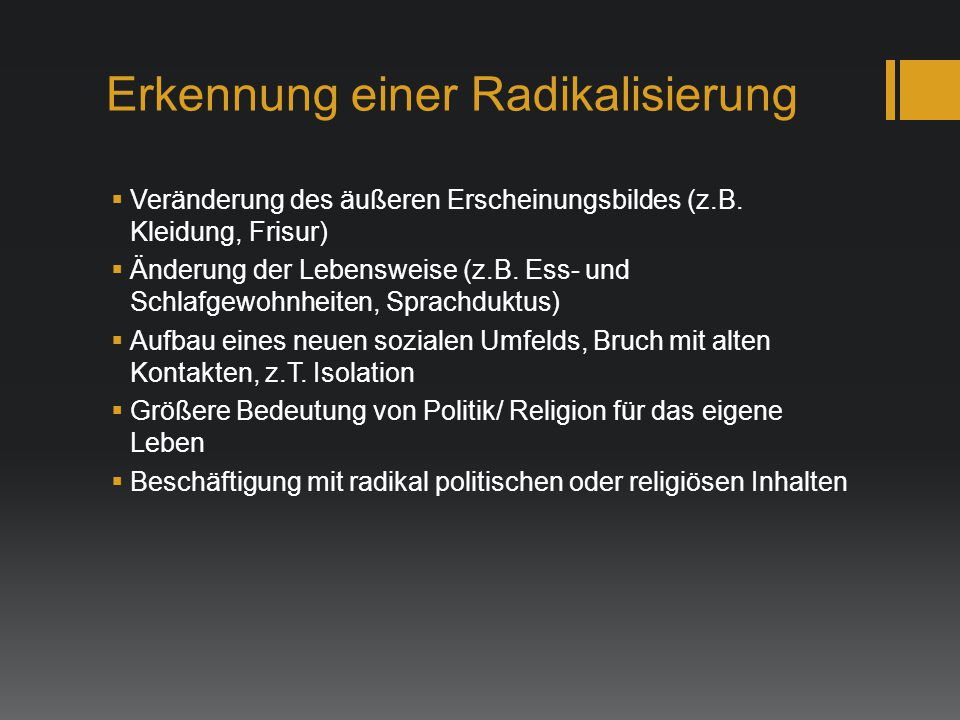 Erkennung einer Radikalisierung