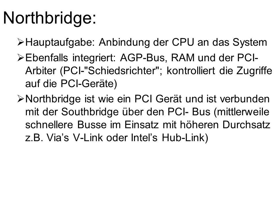 Northbridge: Hauptaufgabe: Anbindung der CPU an das System