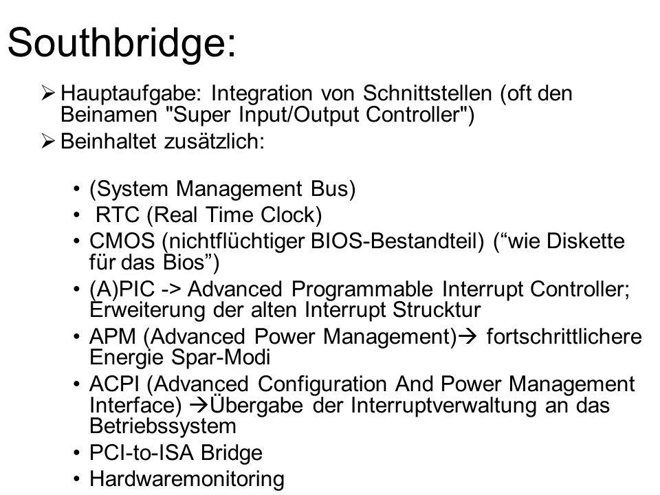 Southbridge: Hauptaufgabe: Integration von Schnittstellen (oft den Beinamen Super Input/Output Controller )