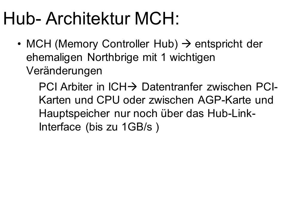 Hub- Architektur MCH: MCH (Memory Controller Hub)  entspricht der ehemaligen Northbrige mit 1 wichtigen Veränderungen.