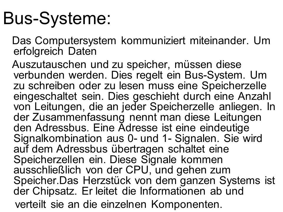 Bus-Systeme: Das Computersystem kommuniziert miteinander. Um erfolgreich Daten.