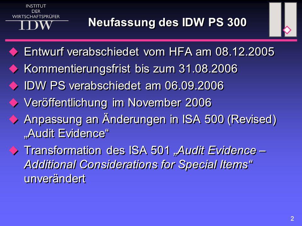 Neufassung des IDW PS 300 Entwurf verabschiedet vom HFA am 08.12.2005. Kommentierungsfrist bis zum 31.08.2006.