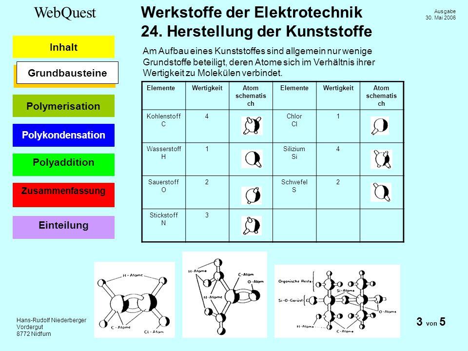 Am Aufbau eines Kunststoffes sind allgemein nur wenige Grundstoffe beteiligt, deren Atome sich im Verhältnis ihrer Wertigkeit zu Molekülen verbindet.