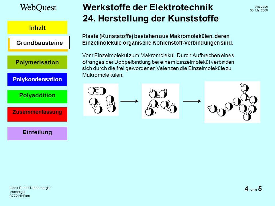 Plaste (Kunststoffe) bestehen aus Makromolekülen, deren Einzelmoleküle organische Kohlenstoff-Verbindungen sind.