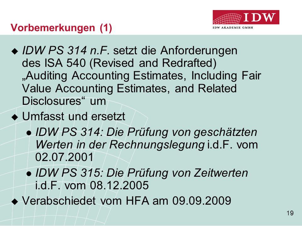 IDW PS 315: Die Prüfung von Zeitwerten i.d.F. vom 08.12.2005