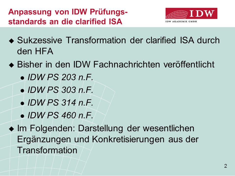 Anpassung von IDW Prüfungs-standards an die clarified ISA