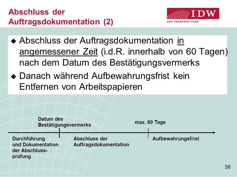 Abschluss der Auftragsdokumentation (2)