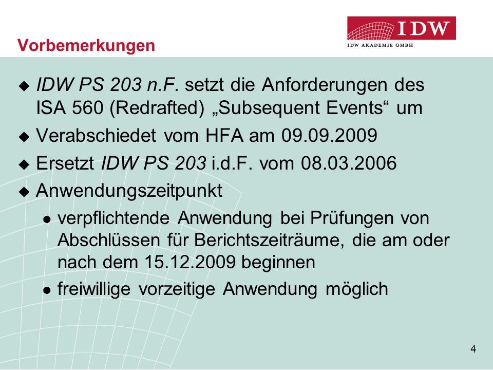 Verabschiedet vom HFA am 09.09.2009