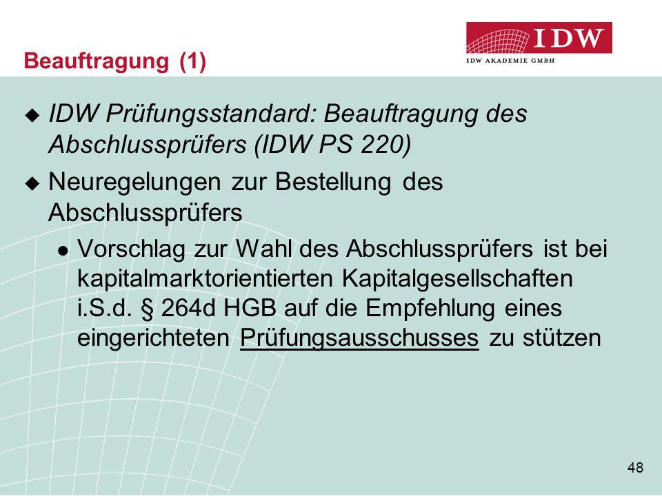 IDW Prüfungsstandard: Beauftragung des Abschlussprüfers (IDW PS 220)
