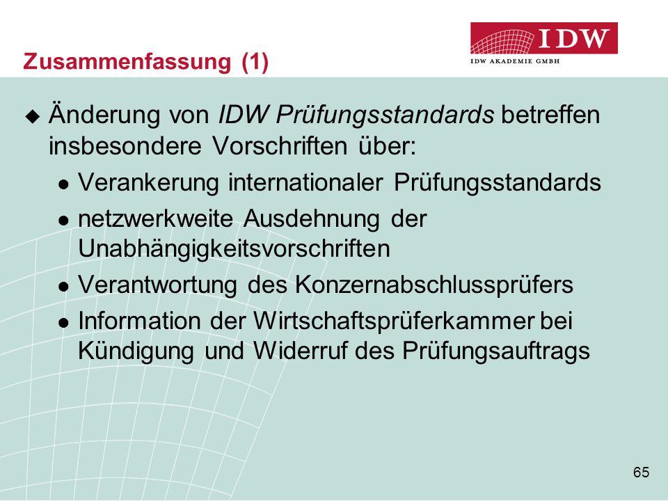 Zusammenfassung (1) Änderung von IDW Prüfungsstandards betreffen insbesondere Vorschriften über: Verankerung internationaler Prüfungsstandards.