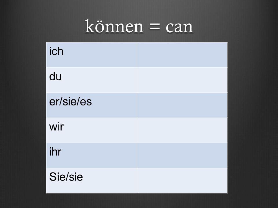 können = can ich du er/sie/es wir ihr Sie/sie