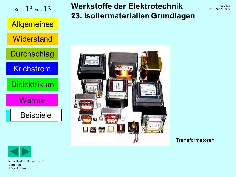 Seite 13 von 13 Beispiele Transformatoren