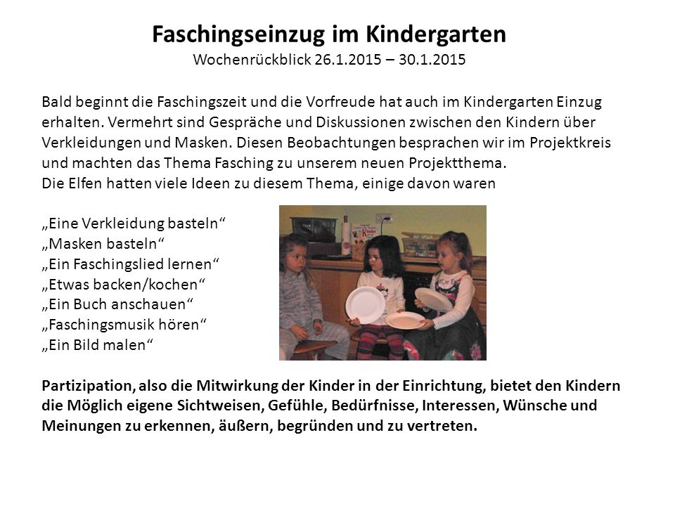 Faschingseinzug im Kindergarten