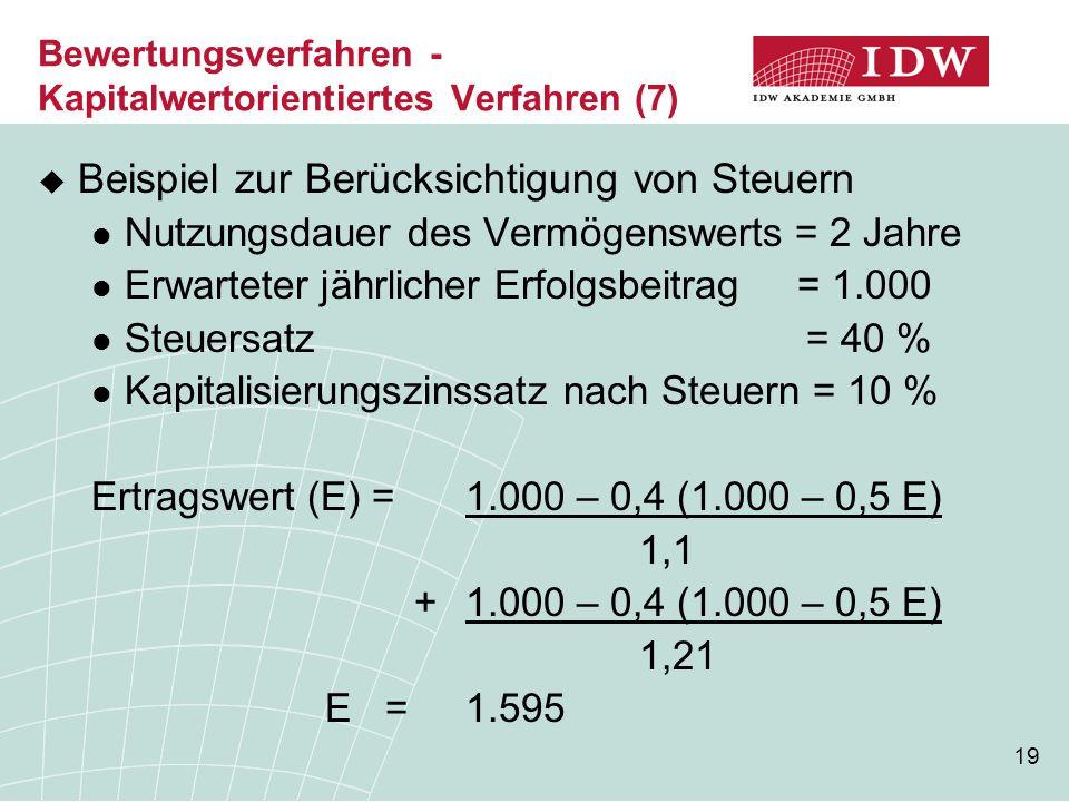 Bewertungsverfahren - Kapitalwertorientiertes Verfahren (7)