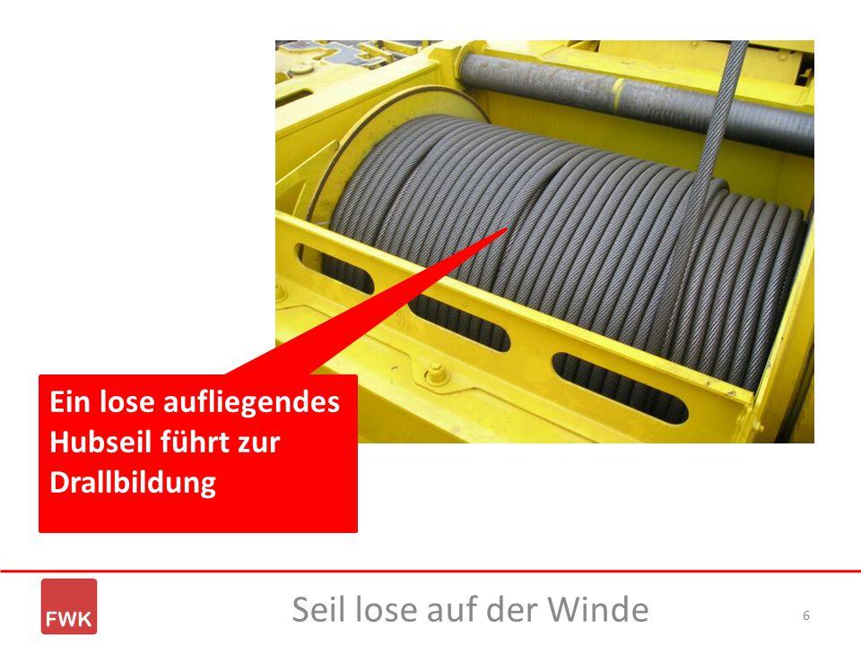 Ein lose aufliegendes Hubseil führt zur Drallbildung