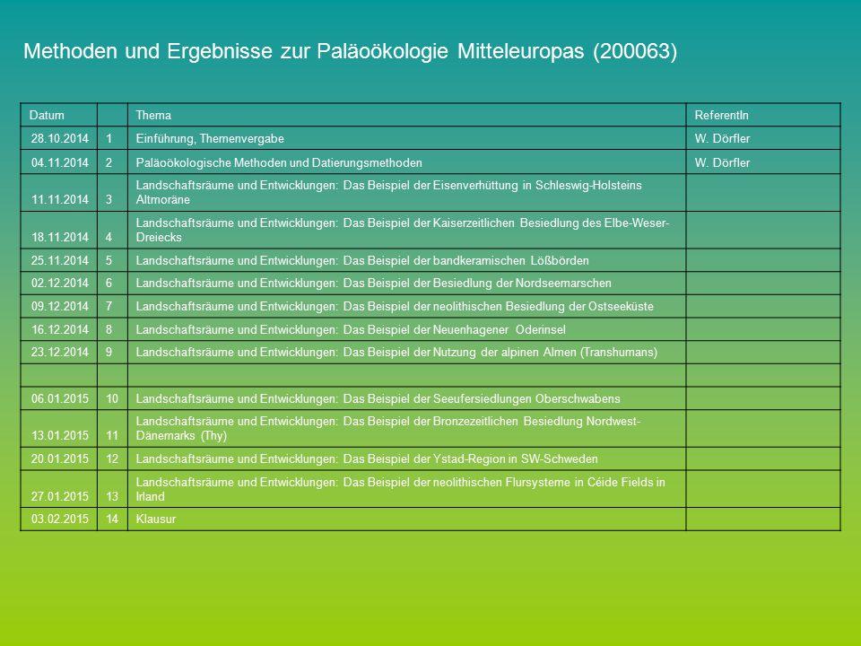 Methoden und Ergebnisse zur Paläoökologie Mitteleuropas (200063)