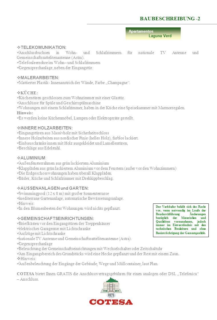 BAUBESCHREIBUNG -2 TELEKOMUNIKATION: