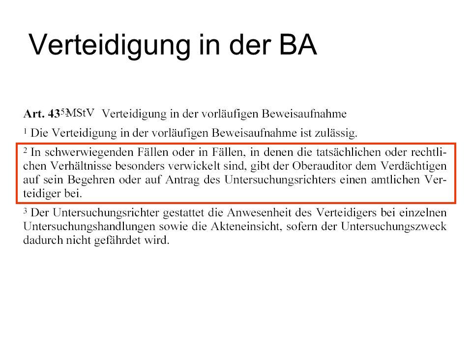 Verteidigung in der BA MStV