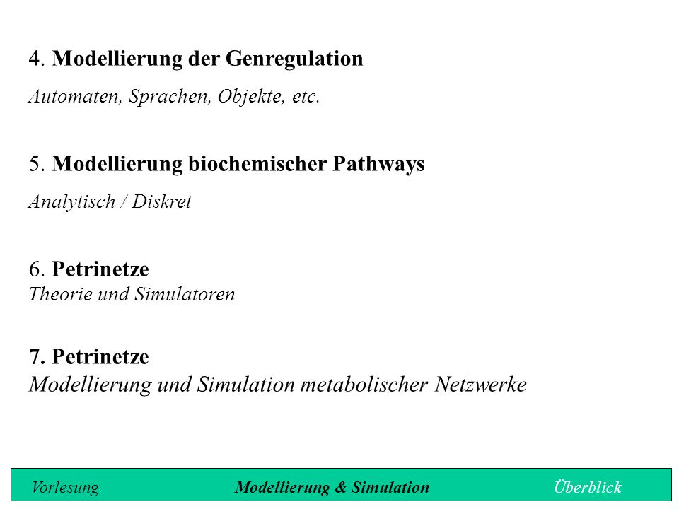 4. Modellierung der Genregulation