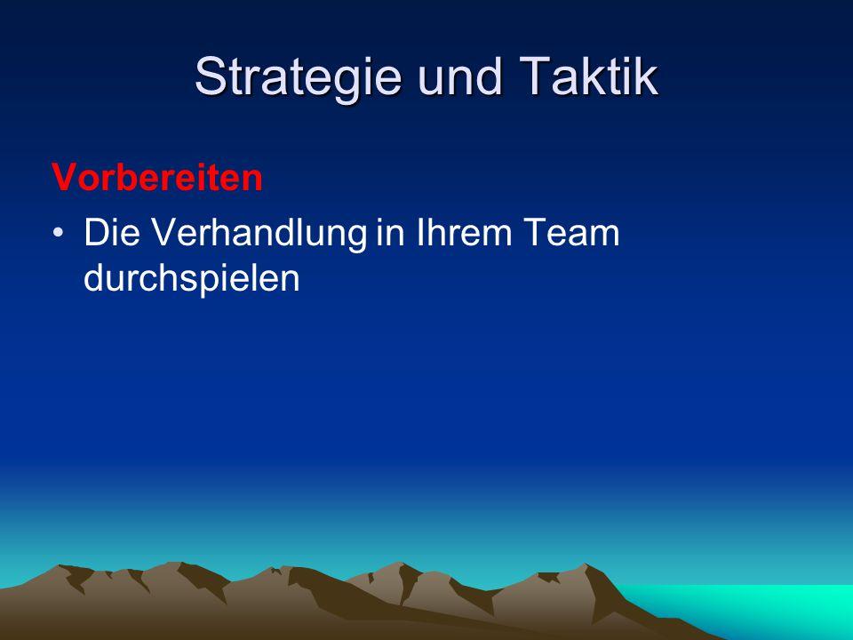 Strategie und Taktik Vorbereiten