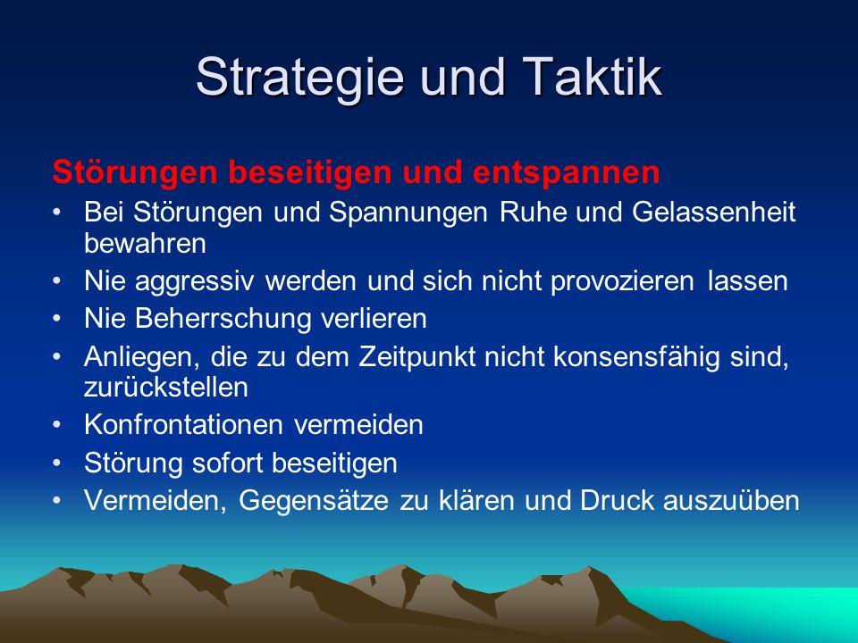 Strategie und Taktik Störungen beseitigen und entspannen