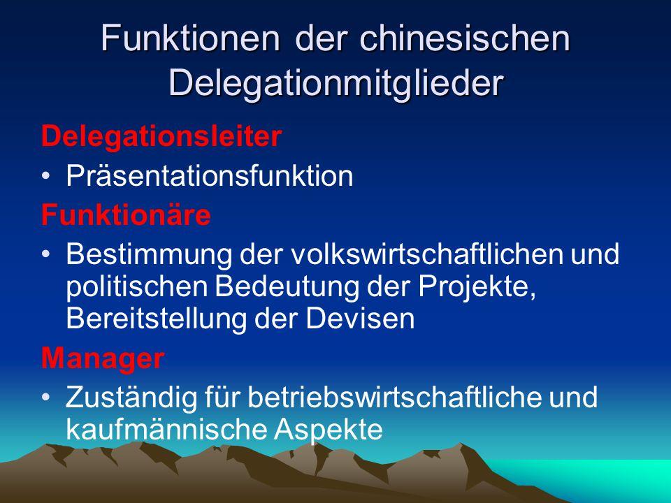 Funktionen der chinesischen Delegationmitglieder